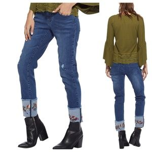 High Rise Crochet rolled hem jeans